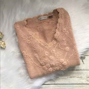 Vintage Express Pink Embroidered Floral Sweater